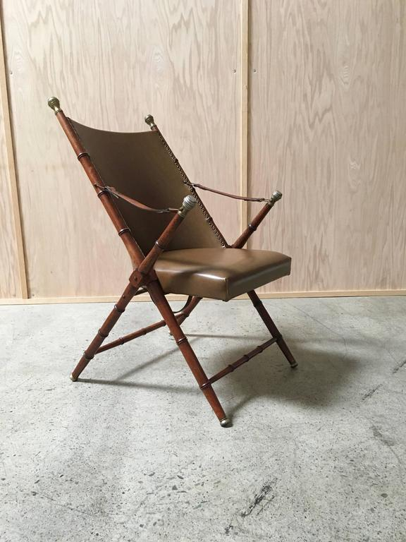 Unknown Faux Bamboo Campaign Mid-Century Chair For Sale