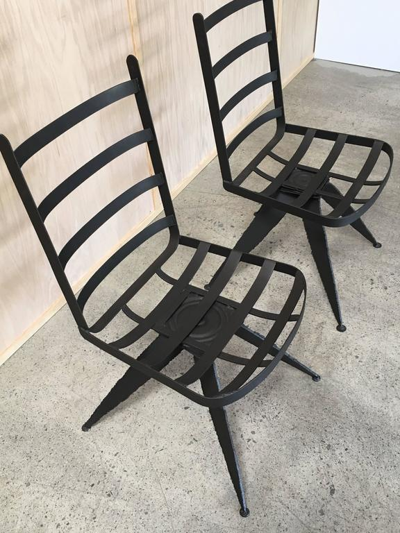 Torch Cut Brutal Swivel Chairs In Good Condition For Sale In Laguna Hills, CA