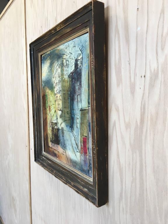 Modernist Parisian street scene painting oil on board Signed John Cunningham Cunningham was an art teacher in Carmel, California.