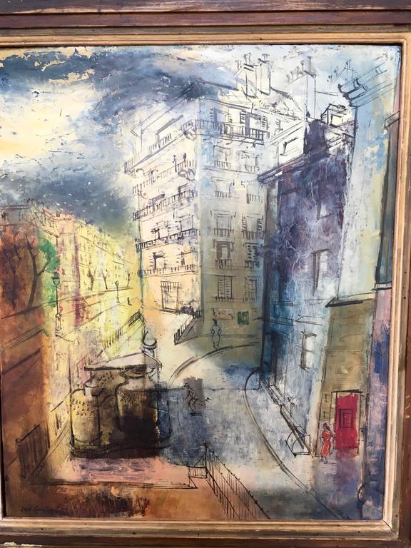 Mid-Century Modern Modernist Parisian Street Scene Painting For Sale