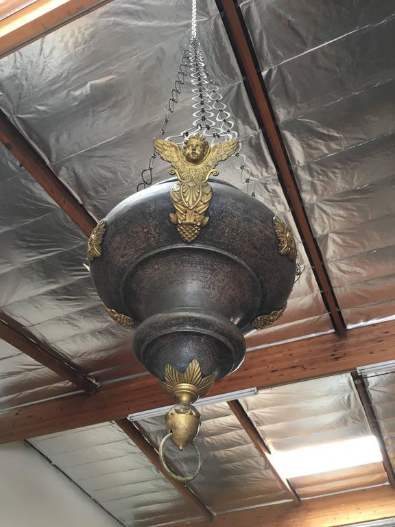 19th century antique sanctuary  church pendant made of zinc and brass decoration.
