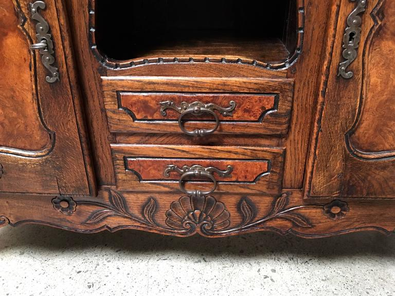 Hand-Carved 19th Century Rustic Buffet with Burl Wood Panels For Sale
