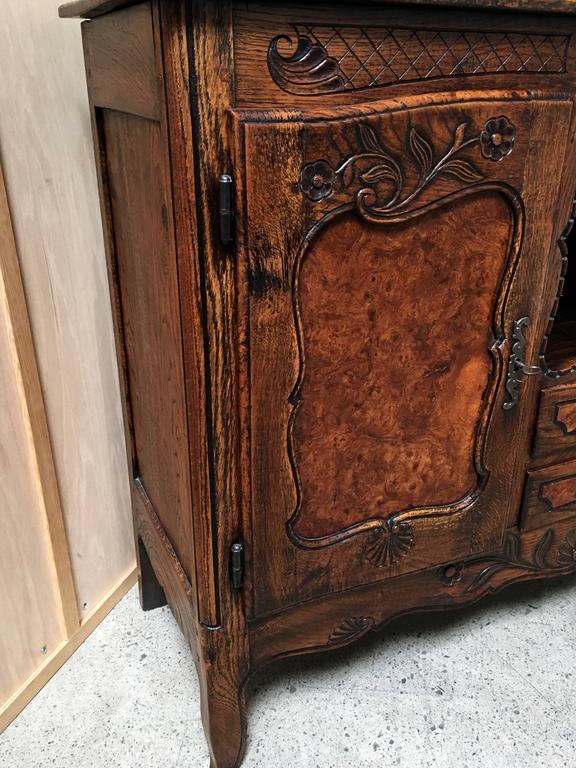 19th Century Rustic Buffet with Burl Wood Panels For Sale 2