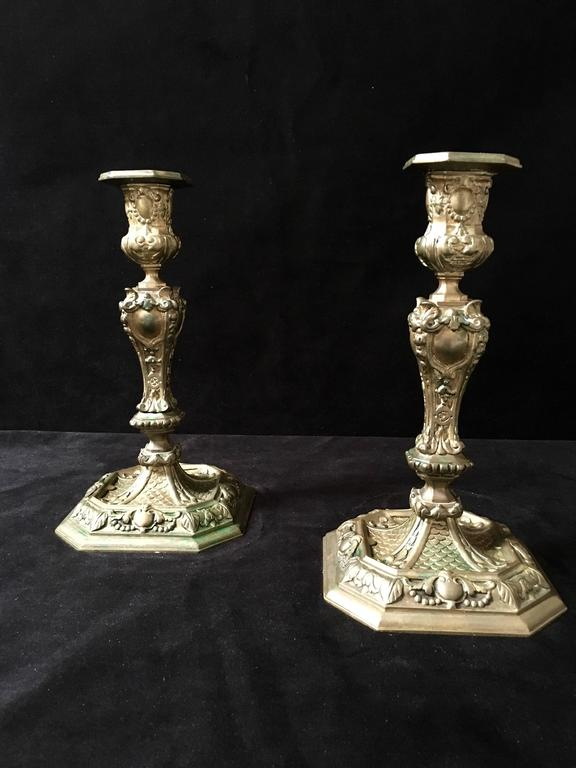 19th Century Rococo Style Brass Candle Sticks For Sale 1