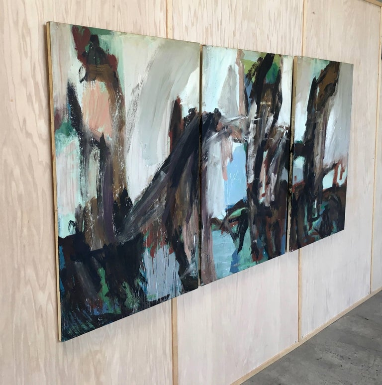 Large Mid-20th Century Abstract Painting Tryptic on Board 3