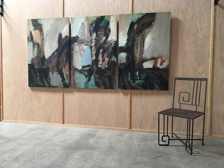 Large Mid-20th Century Abstract Painting Tryptic on Board 4