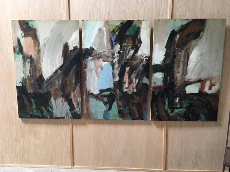 Large Mid-20th Century Abstract Painting Tryptic on Board 2