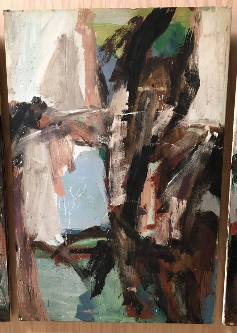 Large Mid-20th Century Abstract Painting Tryptic on Board 6