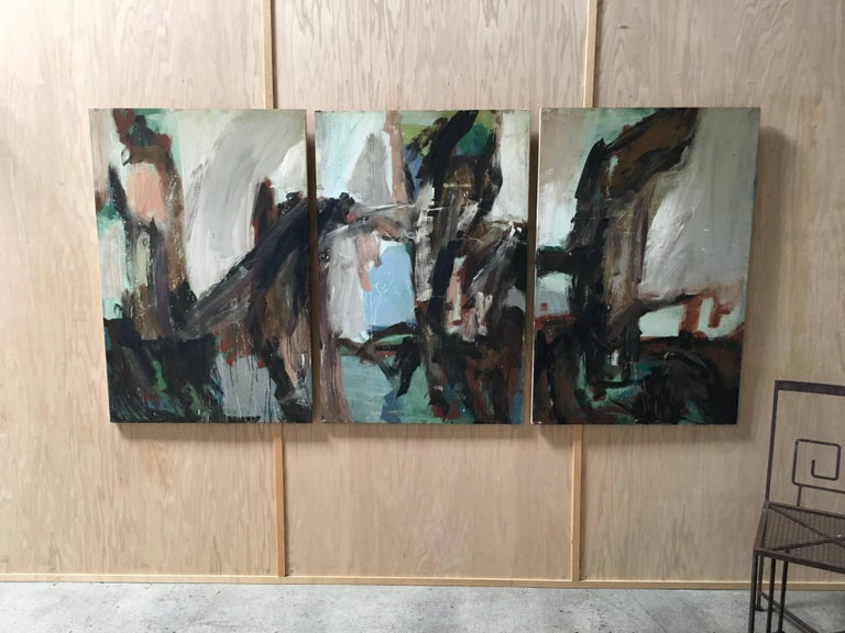 Large Mid-20th Century Abstract Painting Tryptic on Board 8