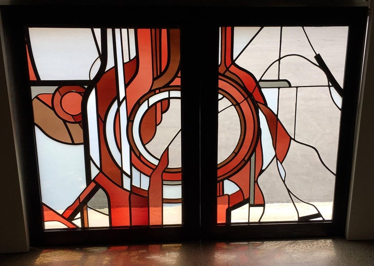 Mid-Century Modern Pair of Abstract Leaded Glass Windows For Sale