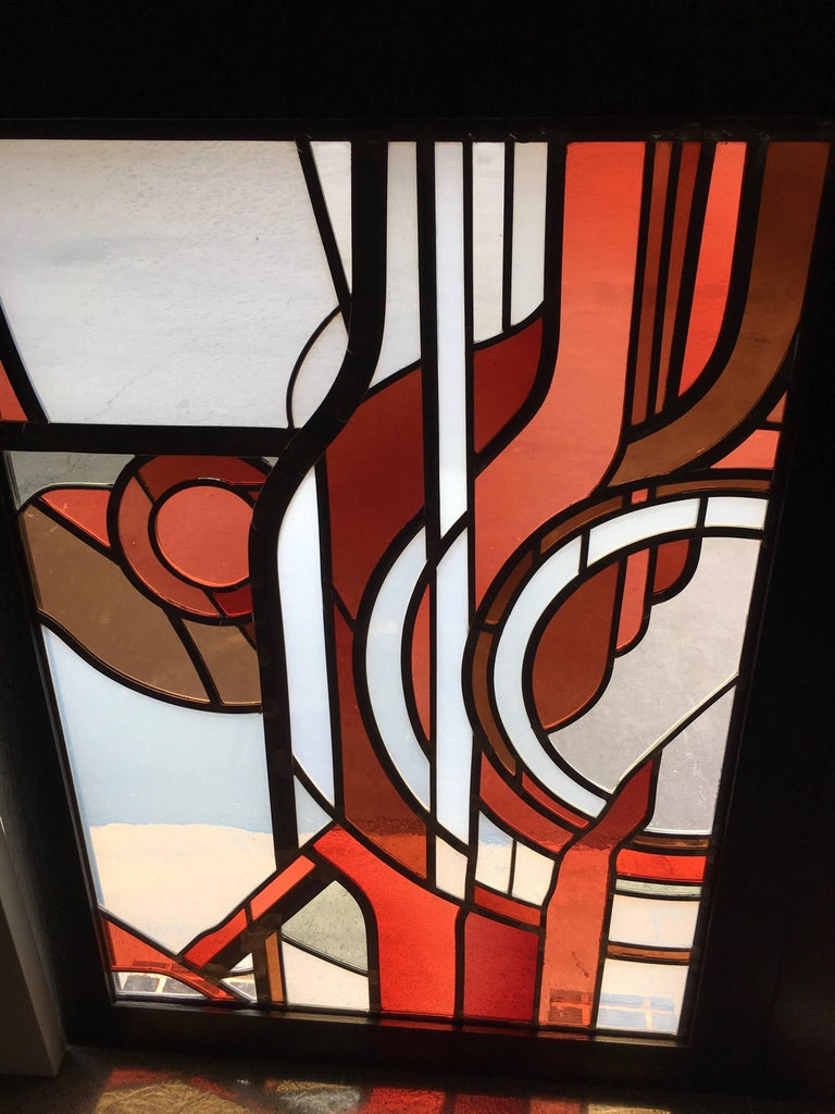 American Pair of Abstract Leaded Glass Windows For Sale