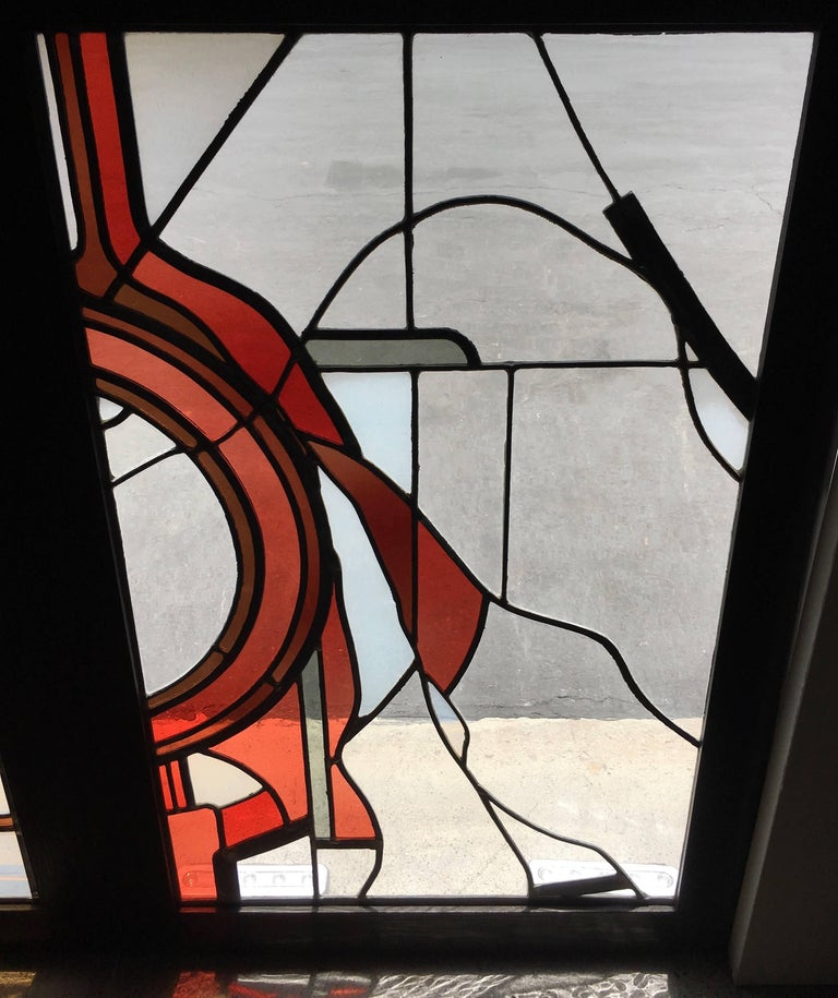 Pair of Abstract Leaded Glass Windows In Good Condition For Sale In Laguna Hills, CA