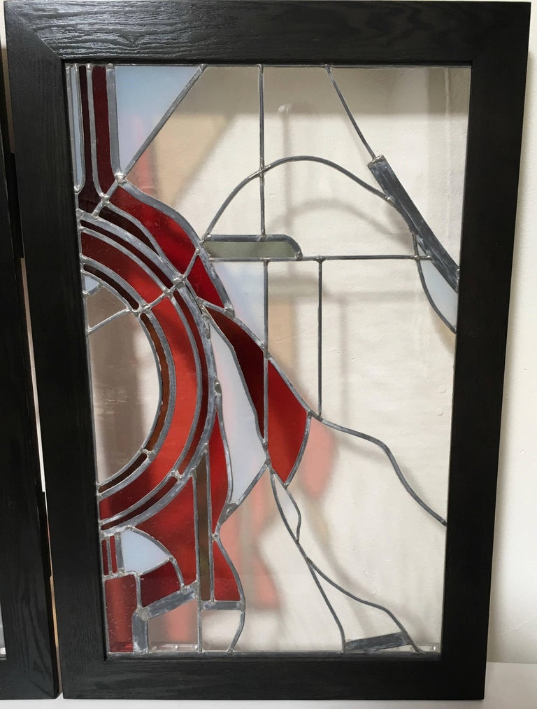 20th Century Pair of Abstract Leaded Glass Windows For Sale