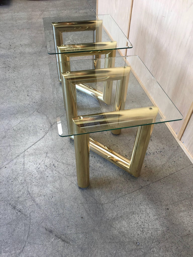 American Pair of Brass Tubular Side Tables For Sale