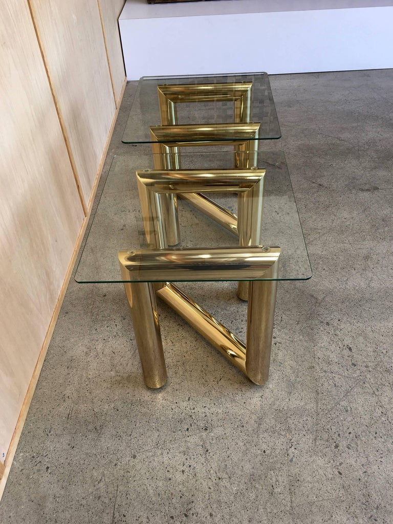 Plated Pair of Brass Tubular Side Tables For Sale