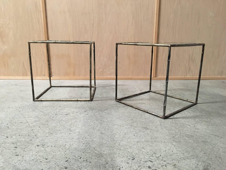 Modern Pair of Geometric Faux Bamboo End Tables For Sale
