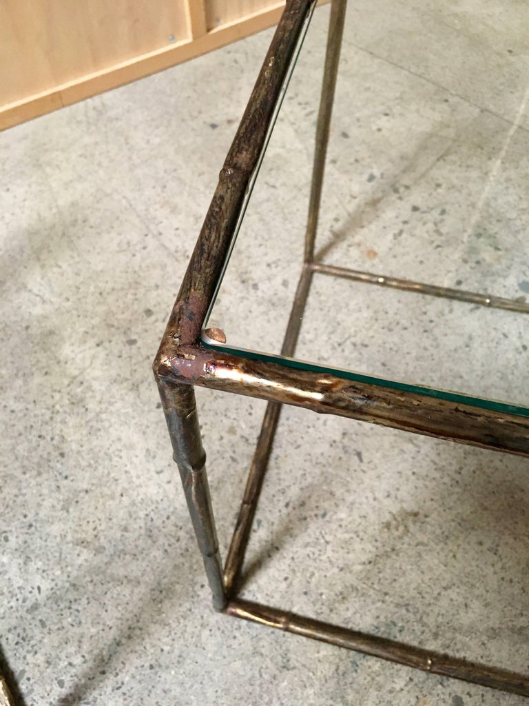 Unknown Pair of Geometric Faux Bamboo End Tables For Sale