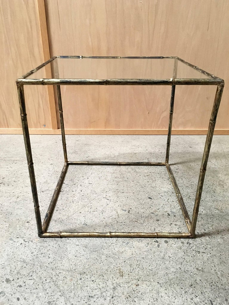 Pair of Geometric Faux Bamboo End Tables In Good Condition For Sale In Laguna Hills, CA