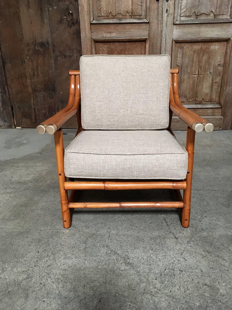 Mid Century Modern Rattan Lounge Chair And Ottoman For Sale Stdibs