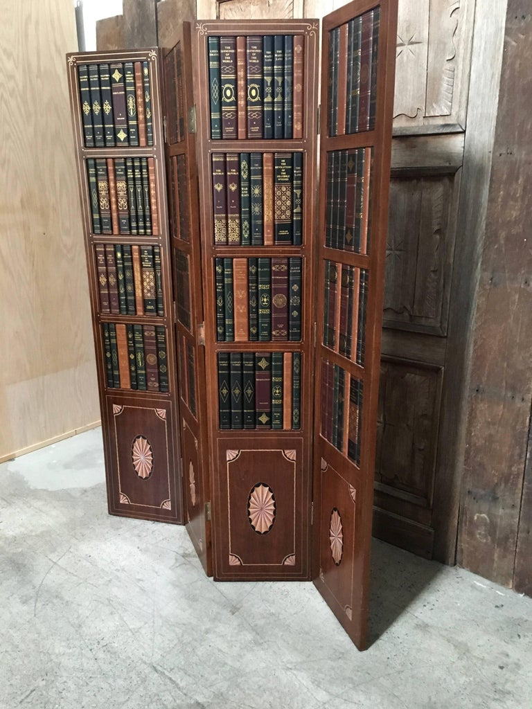 American 20th Century Leather Book Room Divider  For Sale