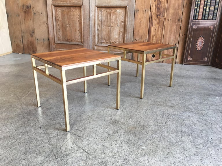 Pair of solid brass angular side tables with solid walnut tops.