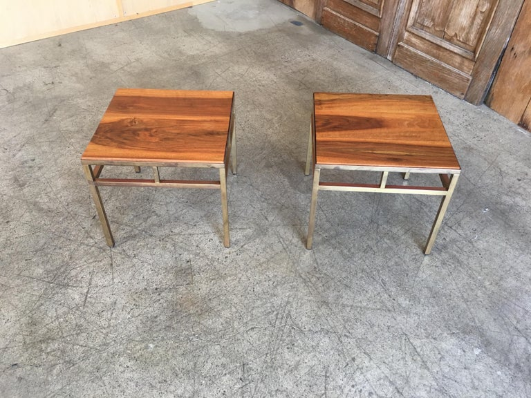 Mid-Century Modern 1970s Brass and Walnut End Tables For Sale