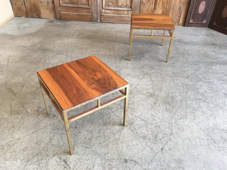 1970s Brass and Walnut End Tables In Good Condition For Sale In Laguna Hills, CA