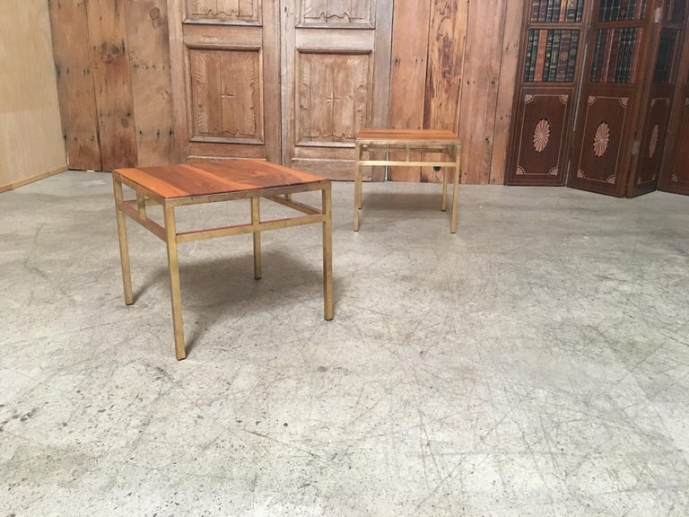 20th Century 1970s Brass and Walnut End Tables For Sale