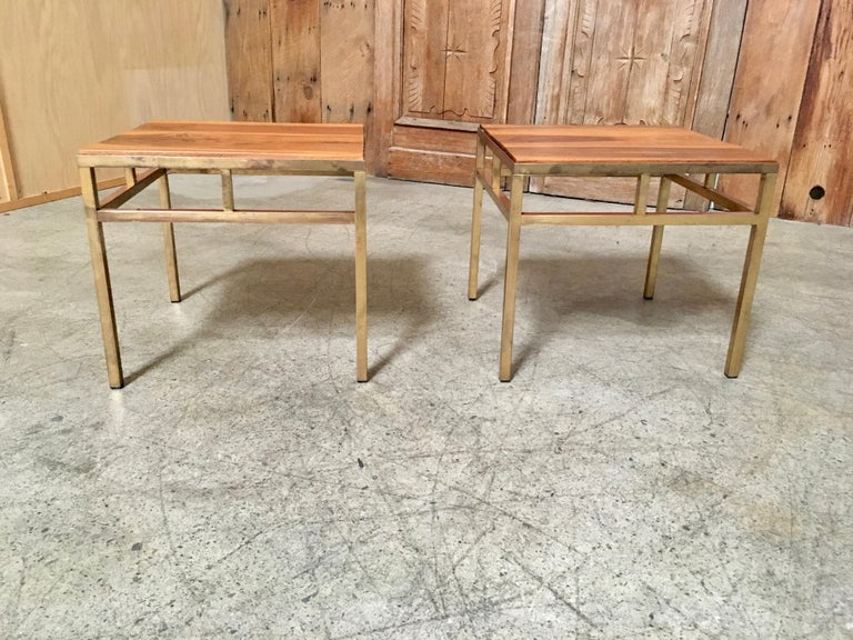 1970s Brass and Walnut End Tables For Sale 1