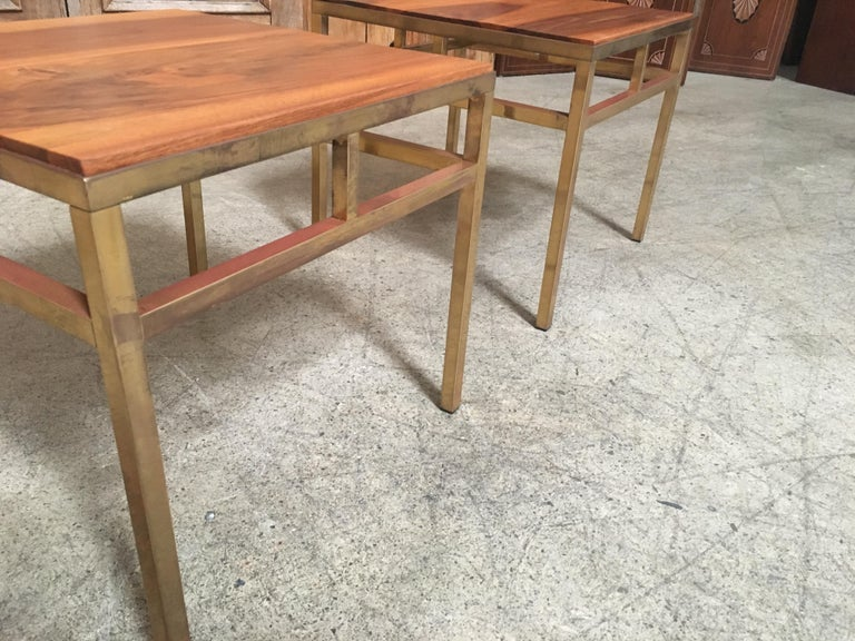 1970s Brass and Walnut End Tables For Sale 3