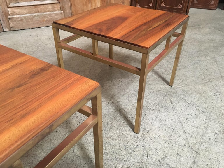 1970s Brass and Walnut End Tables For Sale 4