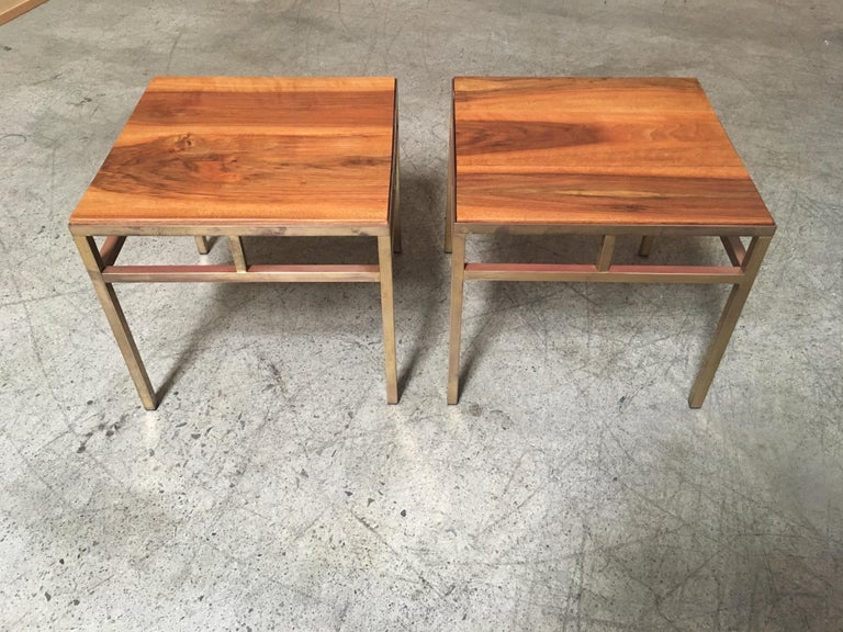 Unknown 1970s Brass and Walnut End Tables For Sale
