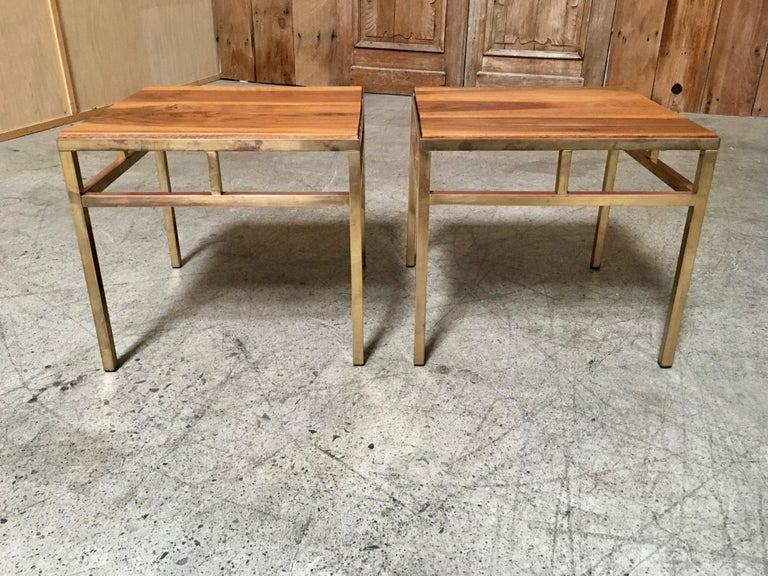 1970s Brass and Walnut End Tables For Sale 5