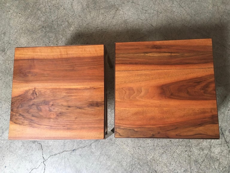 1970s Brass and Walnut End Tables For Sale 6