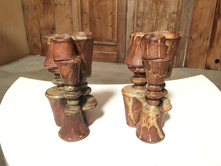 Pair of Stacked Stoneware Vases by Bernard Rooke For Sale 5