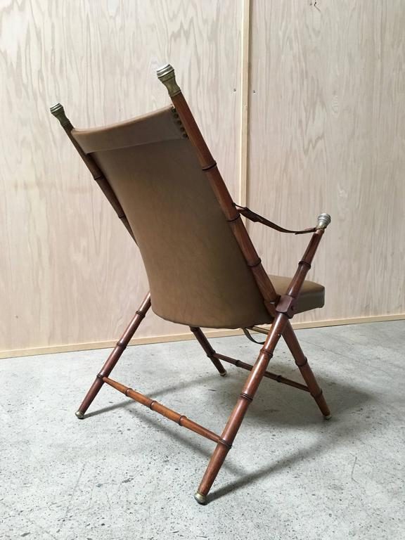Faux Bamboo Campaign Mid-Century Chair For Sale 1