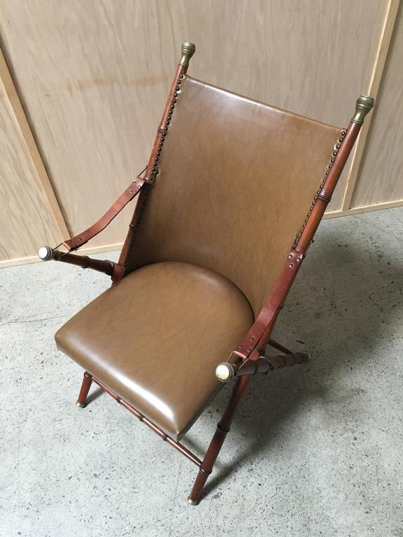 Faux Bamboo Campaign Mid-Century Chair For Sale 3