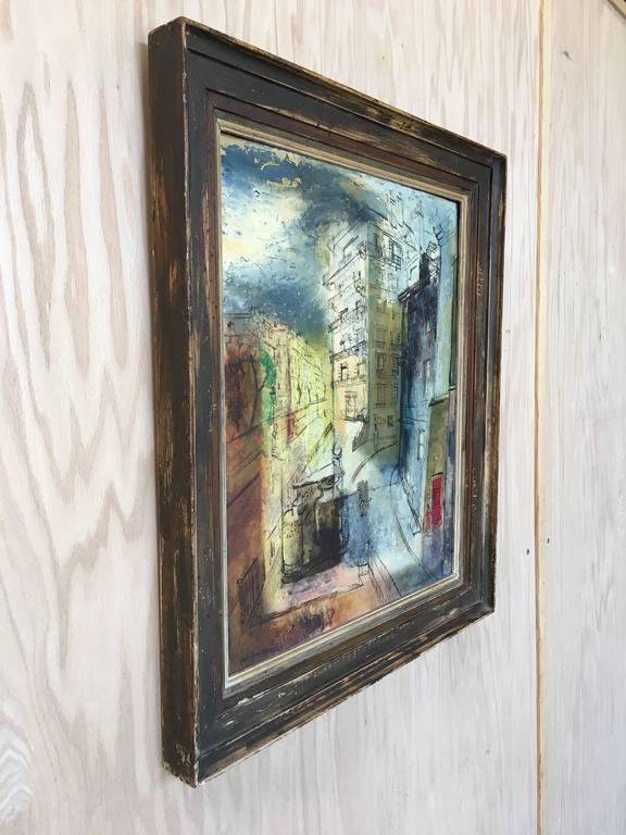 20th Century Modernist Parisian Street Scene Painting For Sale