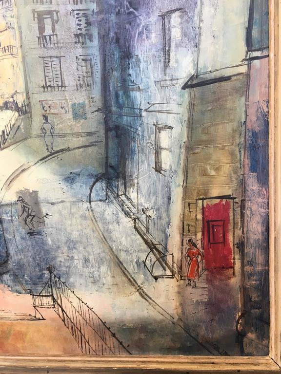 Wood Modernist Parisian Street Scene Painting For Sale