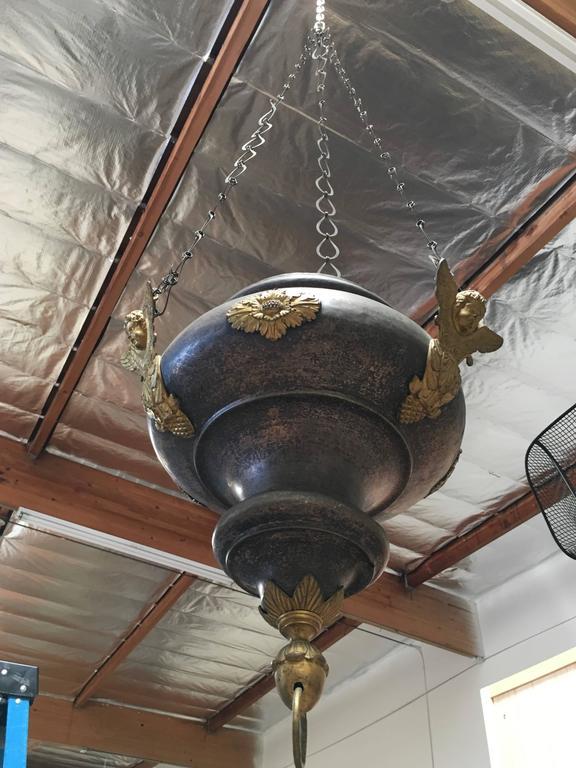 Brass 19th Century Sanctuary Church Pendant For Sale