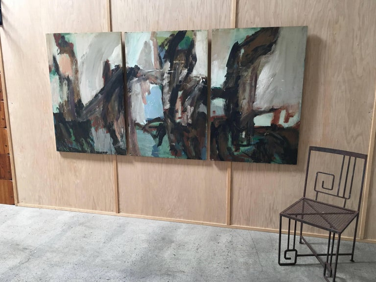 Large Mid-20th Century Abstract Painting Tryptic on Board 9