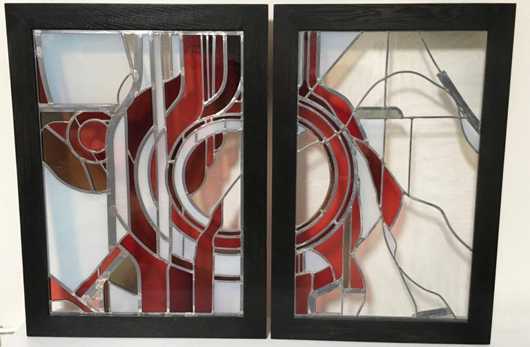 Pair of Abstract Leaded Glass Windows For Sale 1