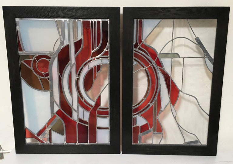 Pair of Abstract Leaded Glass Windows For Sale 2