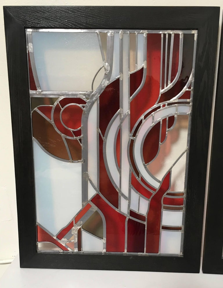 Pair of Abstract Leaded Glass Windows For Sale 3