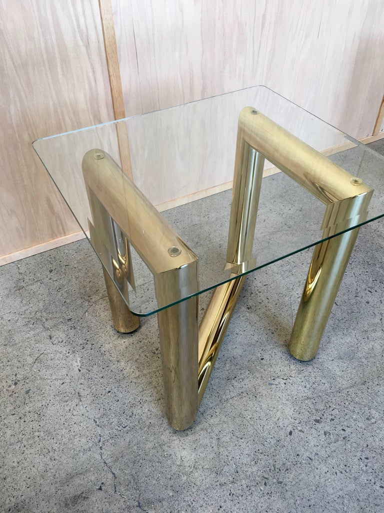 Metal Pair of Brass Tubular Side Tables For Sale