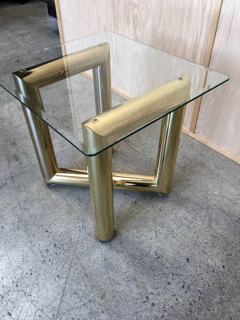 Pair of Brass Tubular Side Tables For Sale 1