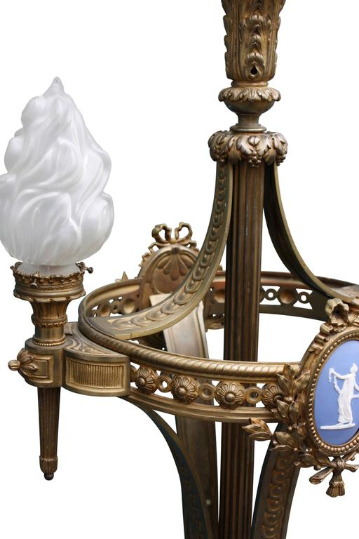 Baroque Monumental Floor Lamp, Torchere, Alabaster and Bronze, France, circa 1900s For Sale