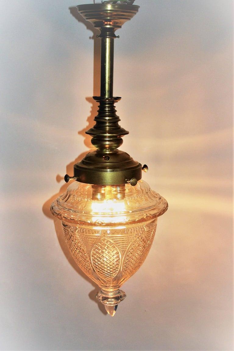 Stunning Art Nouveau Pendant Brass and Crystal Lantern