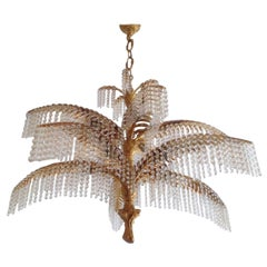 Large Palm Tree Chandelier, Gilt Bronze and Crystal, circa 1970s