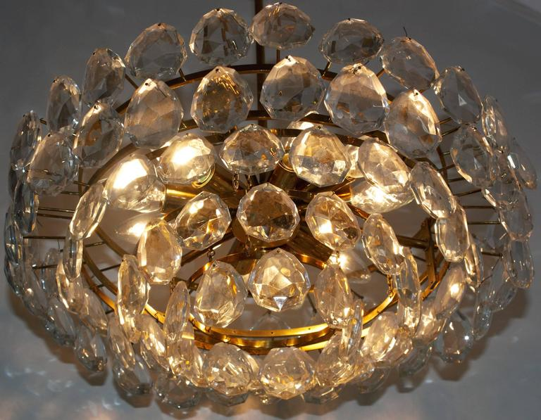 Mid-Century Modern Large Brass and Glass Chandelier  by Bakalowits, Austria, circa 1960s For Sale